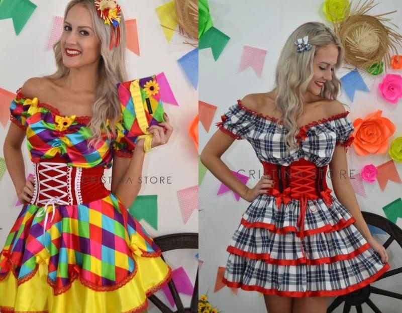 vestido feminino xadrez para festa junina