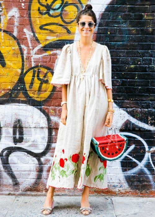 bolsa de palha formato de melancia e vestido