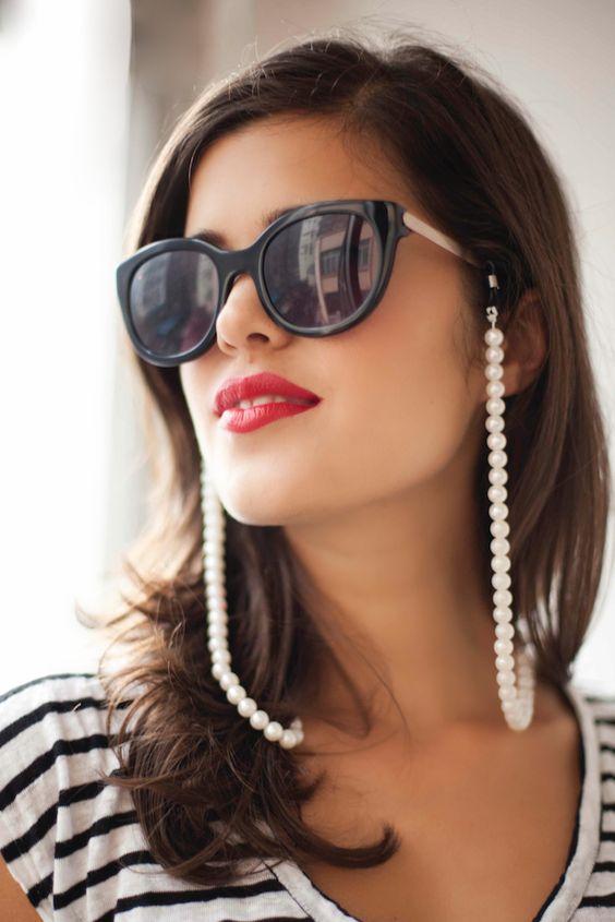 corrente para óculos com pérolas