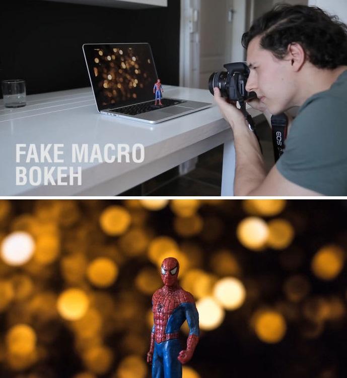 efeito fake de luzes macro
