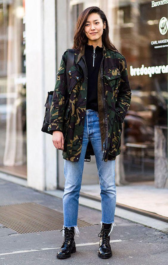 parka camuflado com calça jeans e blusa preta