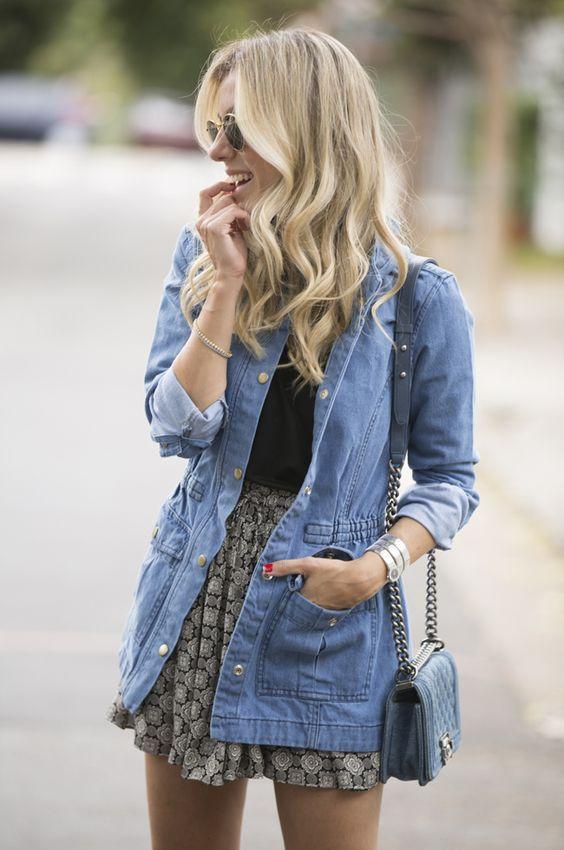 parka jeans com saia