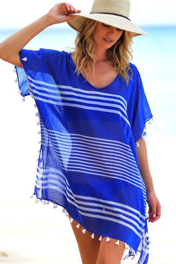 tunica azul saia de praia