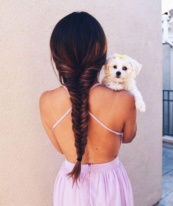 Fotos Tumblr fáceis de imitar com cachorro e trança