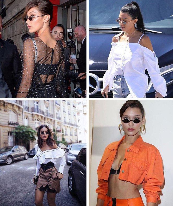 mini óculos de sol famosas usando