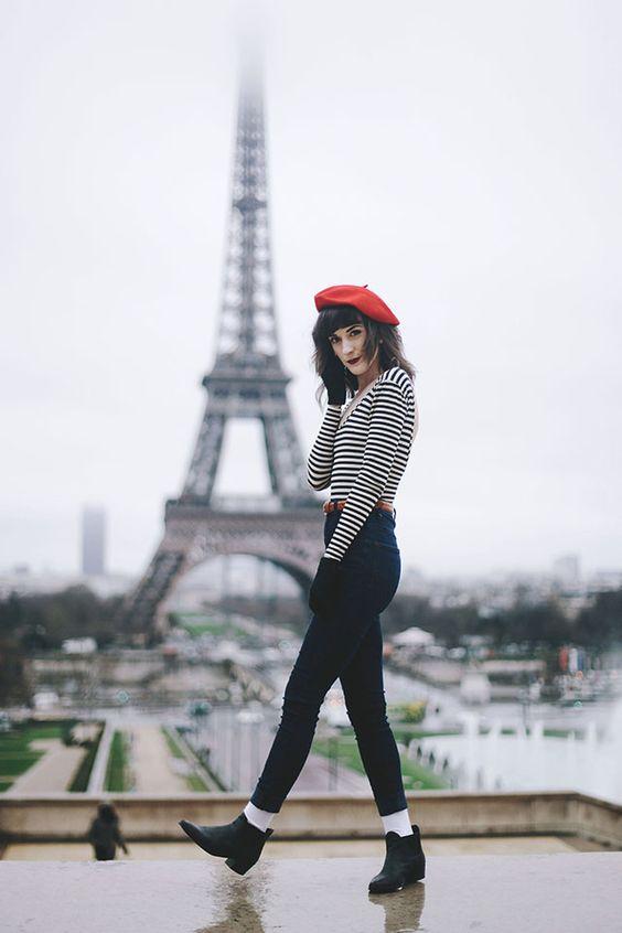 looks com boina feminina francesa