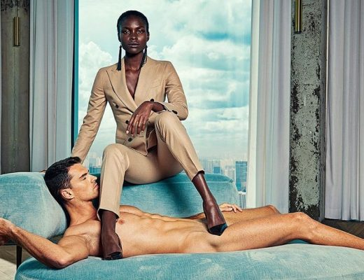 marca retrata mulheres de terno ao lado de homens nus