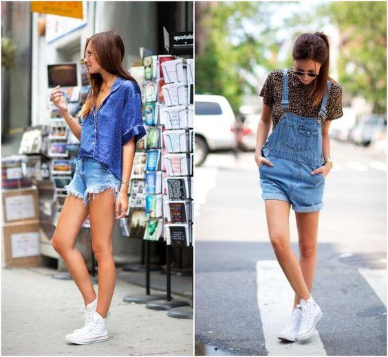 short jeans e all star