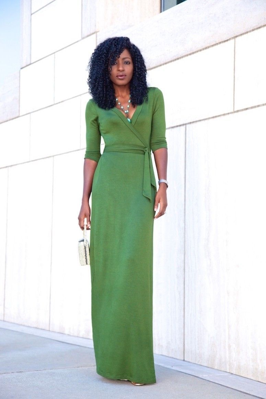 vestido envelope verde longo