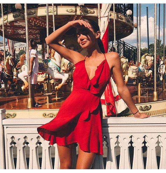 vestido envelope vermelho sem mangas