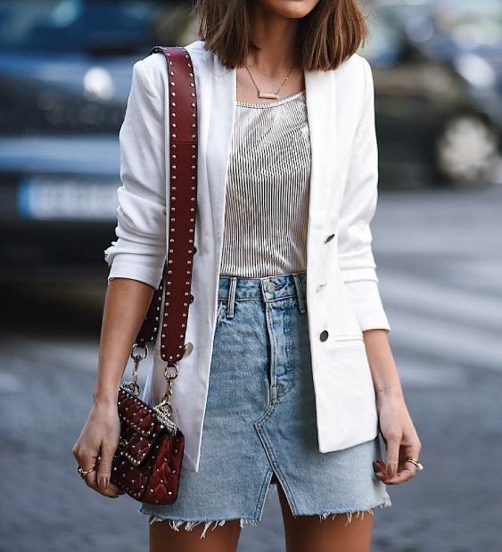 alfaiataria blazer social, camiseta e saia jeans