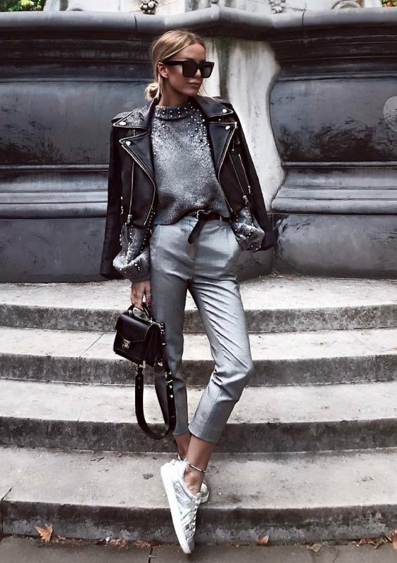 calça de alfaiataria com jaqueta de couro