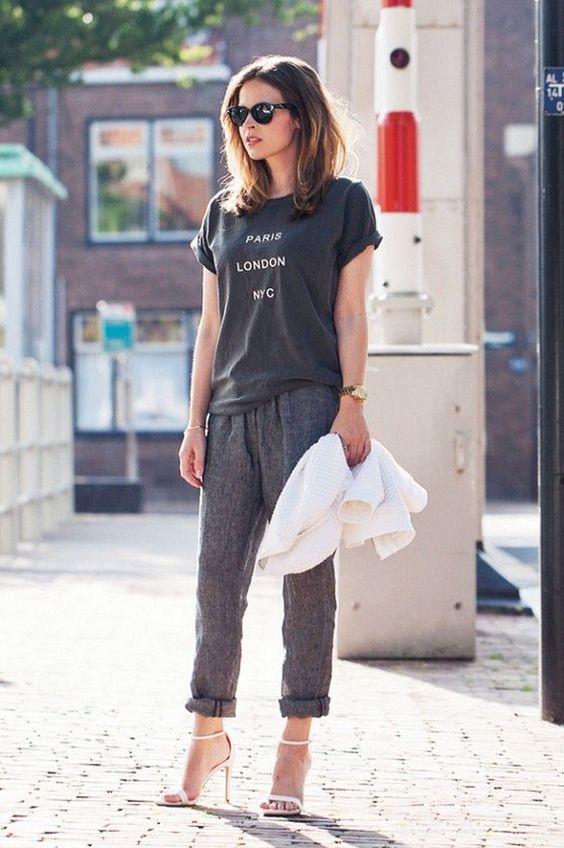 calça de alfaiataria e camiseta basica