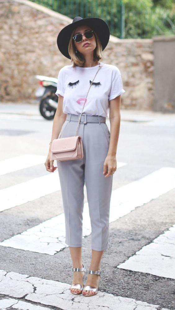 calça de alfaiataria e camiseta