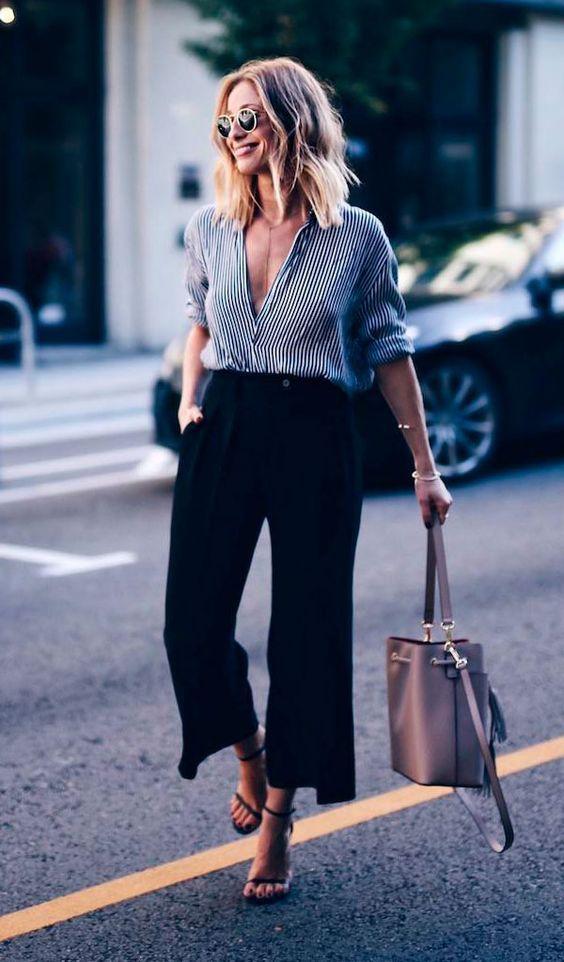 camisa social e calça pantacourt preta