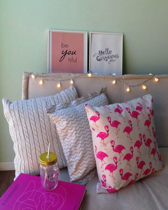 decoração iluminação com pisca pisca cabeceira de cama