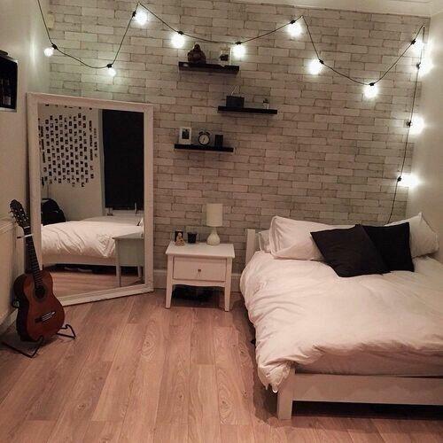 decoração iluminação com pisca pisca cama e quarto
