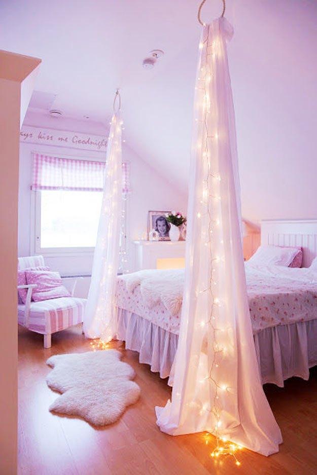 decoração iluminação com pisca pisca cortina