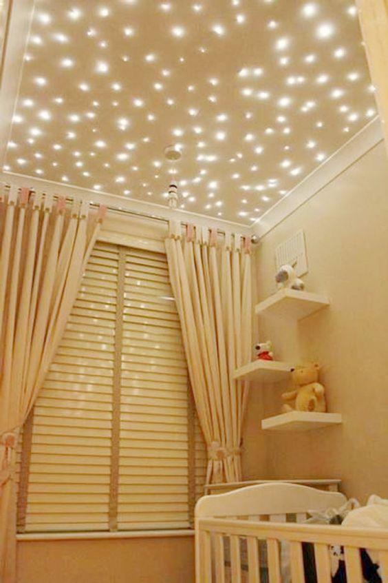 decoração iluminação com pisca pisca teto