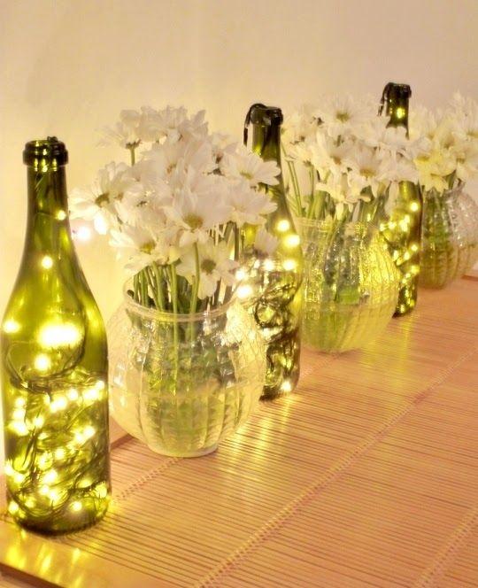 decoração iluminação com pisca pisca vasos