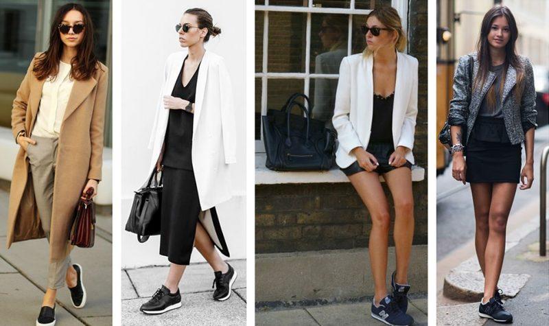 looks elegantes com blazer e terno e tênis