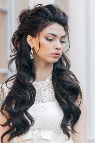penteado madrinha de casamento cabelo longo meio preso