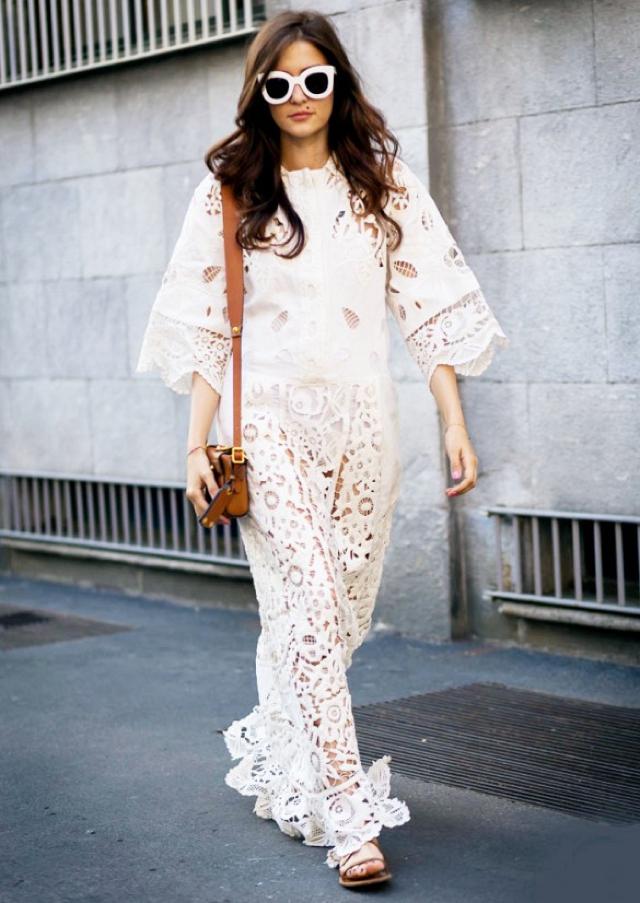 vestido de renda branco longo