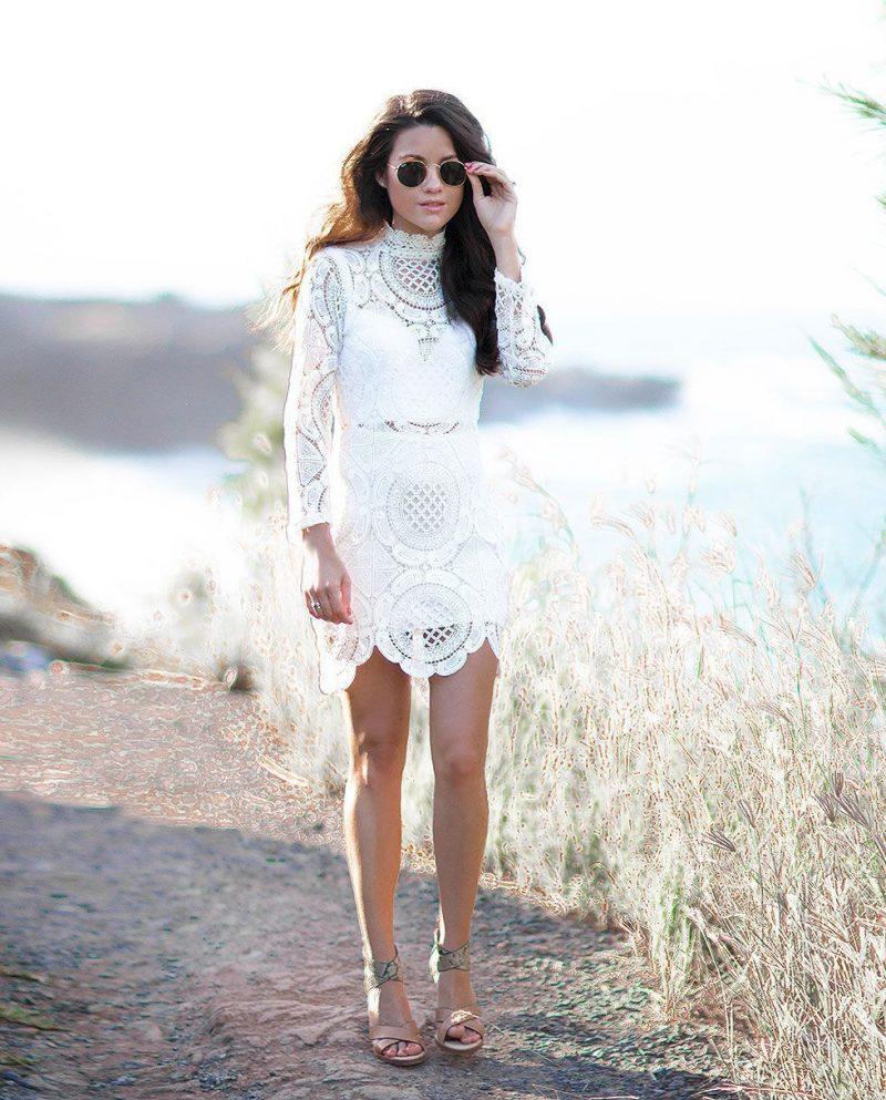vestido de renda curto branco dia