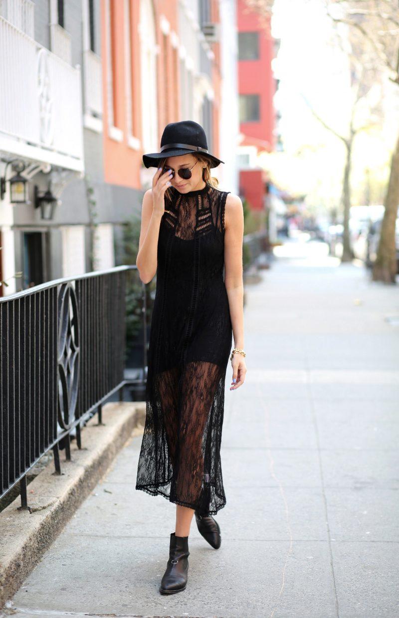 vestido de renda preto com chapéu
