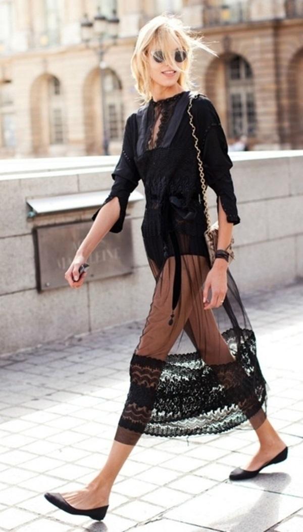 vestido transparente de renda