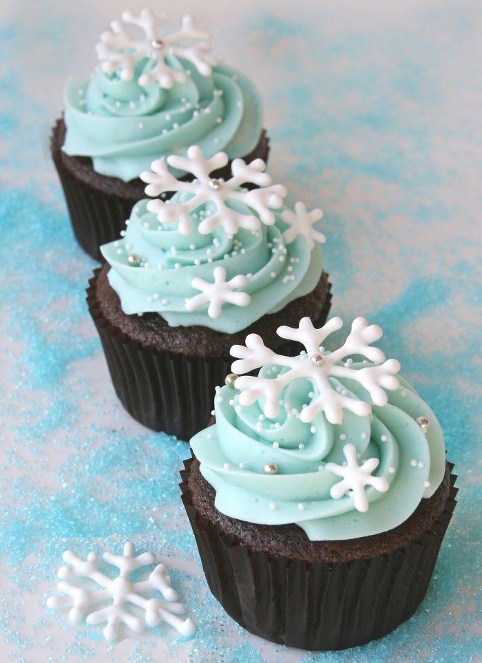 cupcake com flocos de neve
