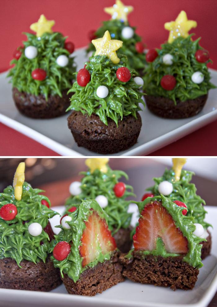 cupcake de árvore de natal verde