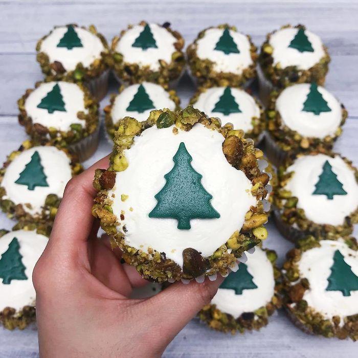 cupcake de natal árvore