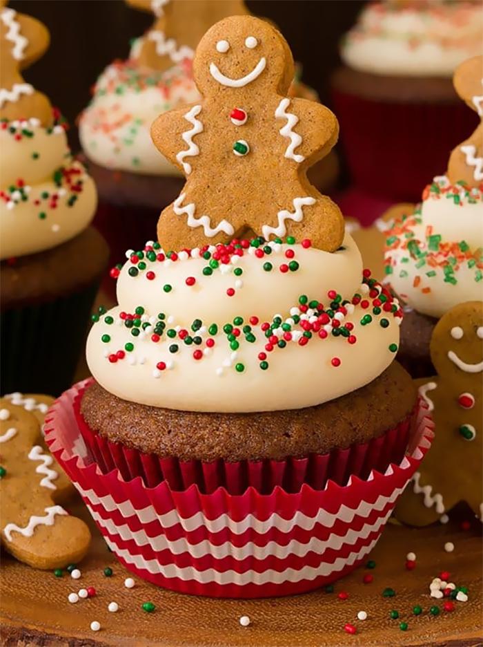 cupcake de natal biscoito de gengibre