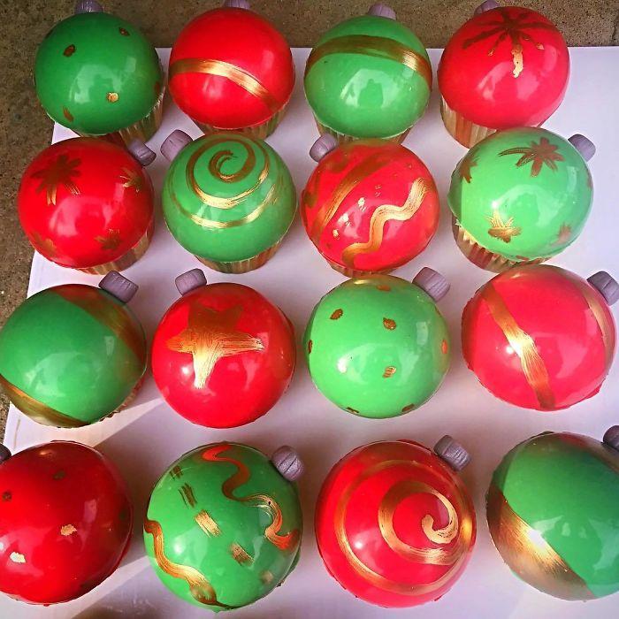 cupcake de natal bolinhas de natal