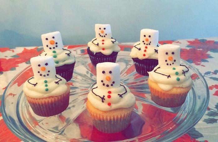 cupcake de natal boneco de neve