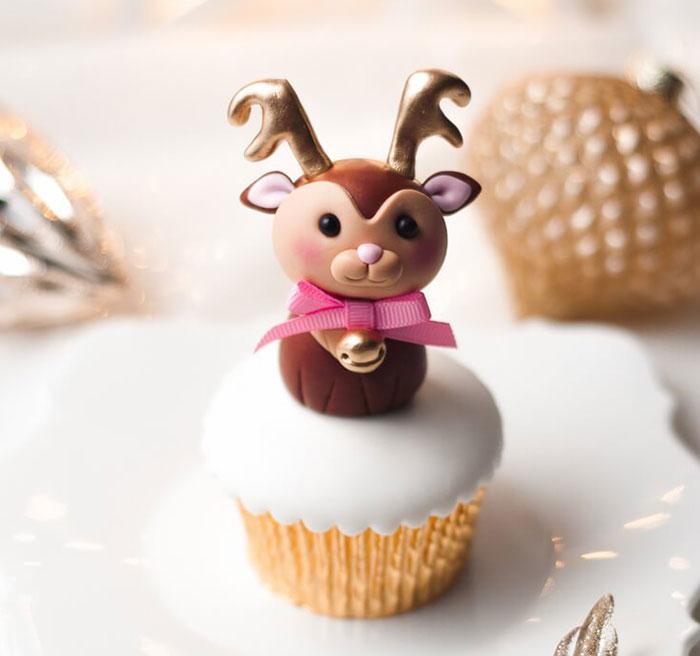 cupcake de natal rena delicada