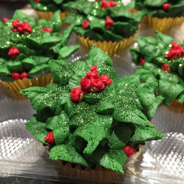 cupcake de natal verde e vermelho