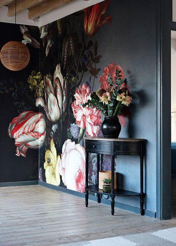 papel de parede de flores para sala