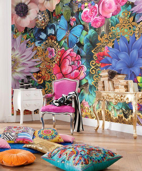 papel de parede flores grandes e coloridas