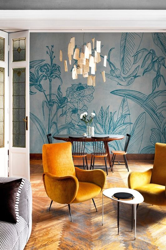 papel de parede flores para sala moderno