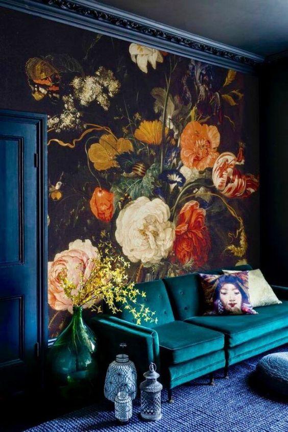 papel de parede flores para sala