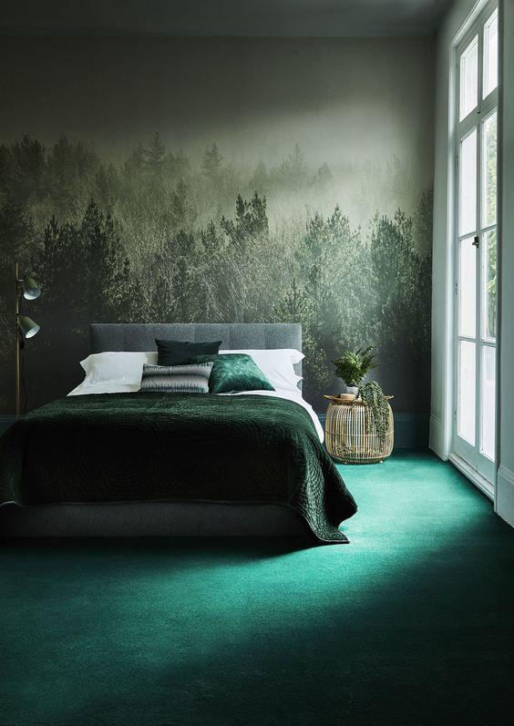 papel de parede floresta no quarto