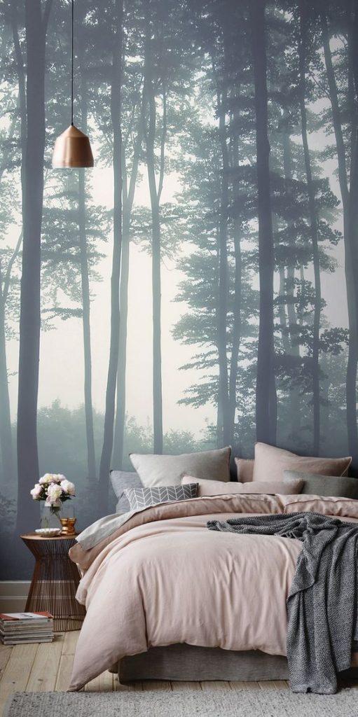 papel de parede floresta quarto