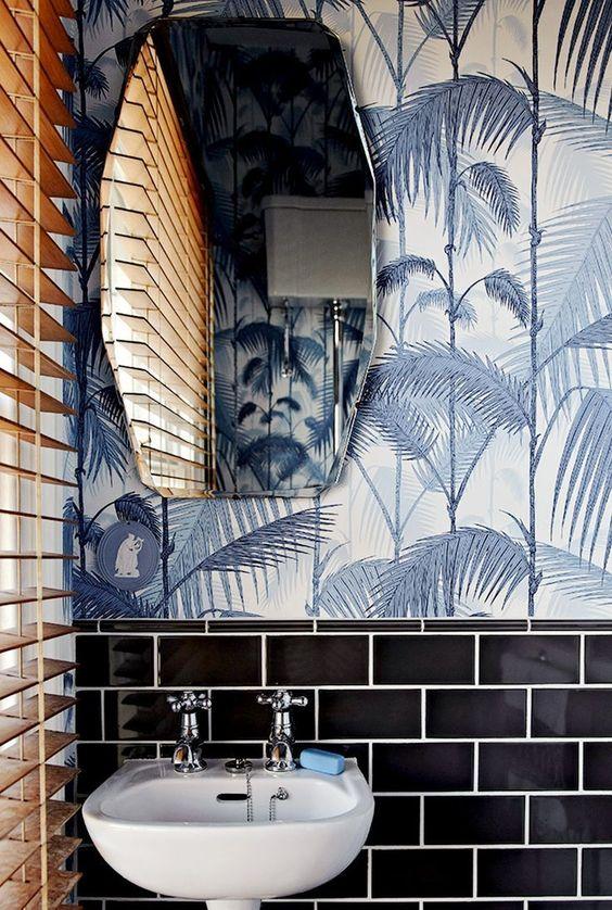 papel de parede folhagem banheiro