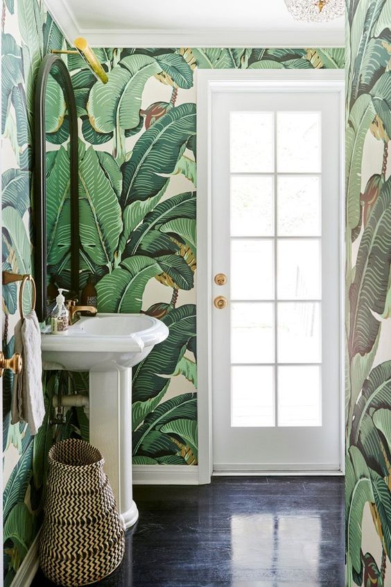 papel de parede folhagem lavabo