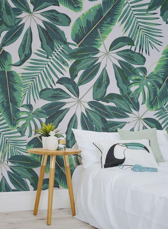 papel de parede folhas no quarto