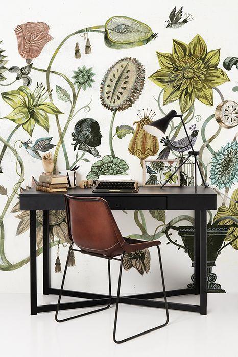 papel de parede para escritório floral