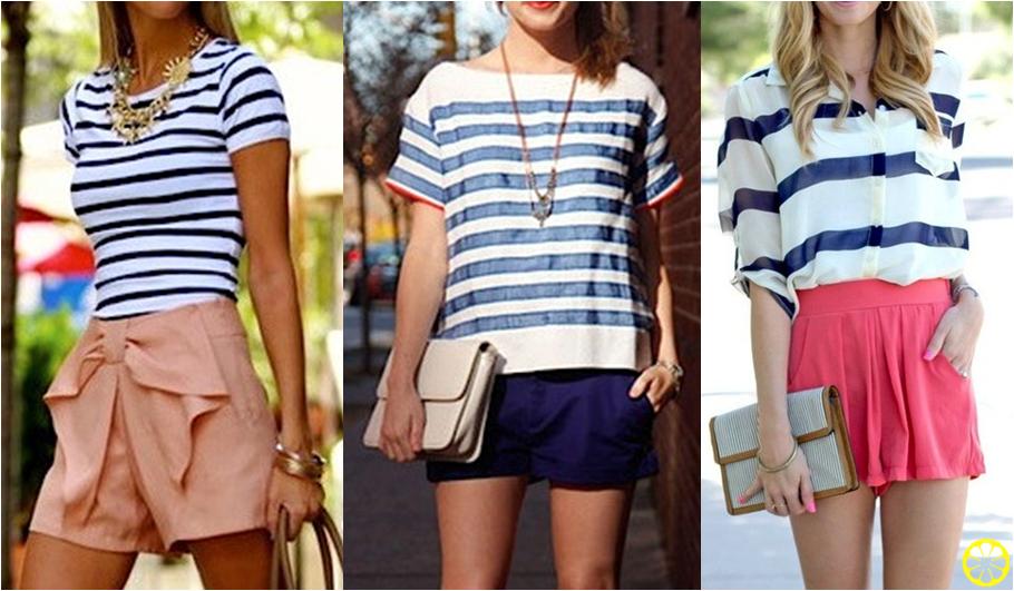 blusa listrada com shorts