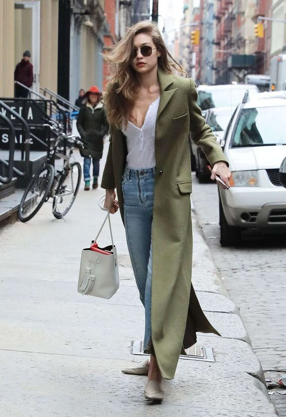 casaco longo verde tendência